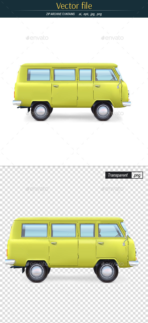 Yellow Bus Editable Vector - Man-made Objects Objects