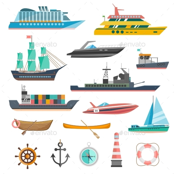 Ships Icons Set  - Travel Conceptual