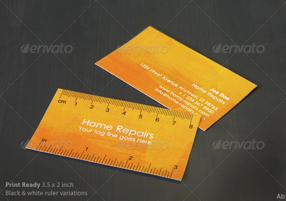 Handy Business Card with Ruler (Yellow-Orange) - Creative Business Cards