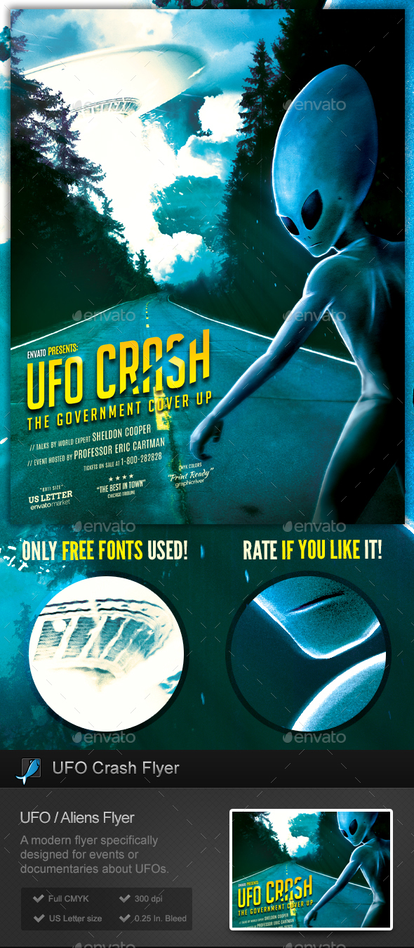 UFO Crash Aliens Flyer Template