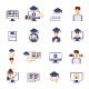 Online Education Set of Icons. Flat Design Vector  - GraphicRiver Item for Sale