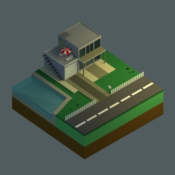 Low Poly House Set - 3DOcean Item for Sale