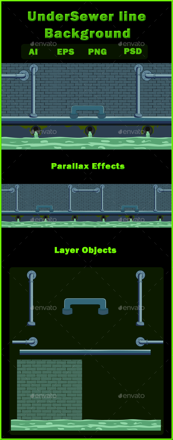 UnderSewer line Background - Backgrounds Game Assets