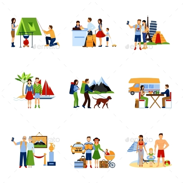 Images Set Of Vacation Options - Decorative Vectors