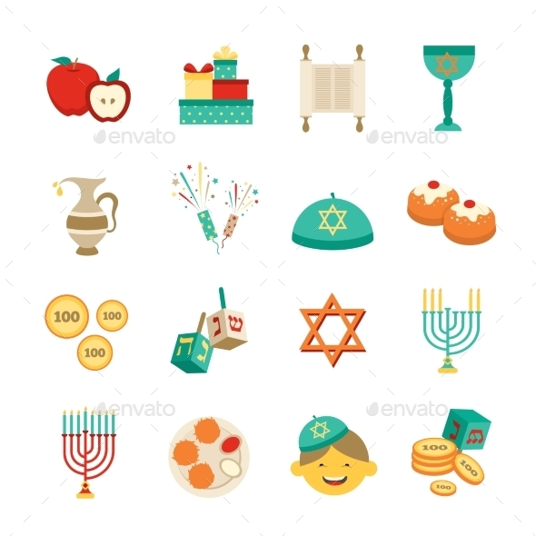 Symbols Of Hanukkah Icons Set