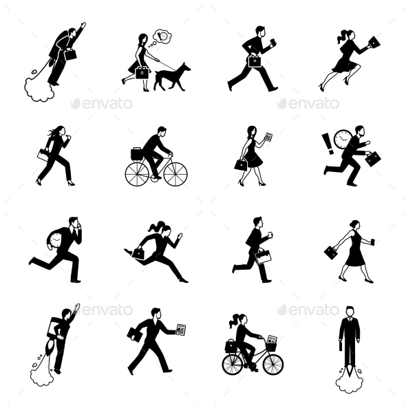 Hurrying Business People Monochrome Set - Icons