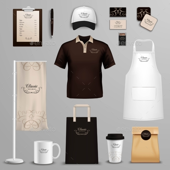 Restaurant Cafe Corporate Identity Icons Set  - Man-made Objects Objects