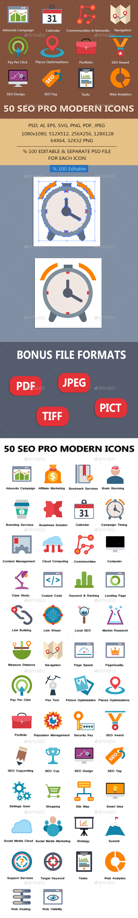 SEO Pro Modern Icons - Business Icons