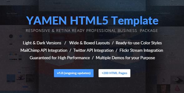 YAMEN – Responsive Business HTML5 Template