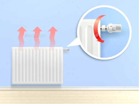 Realistic Radiator Illustration - Technology Conceptual