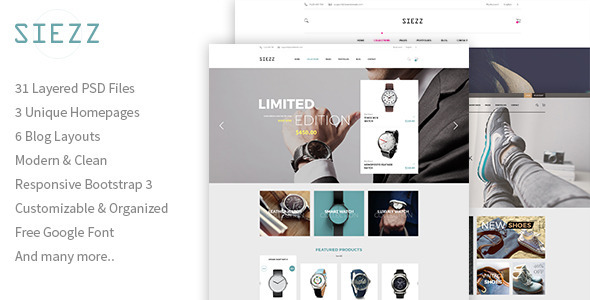Siezz – Multipurpose E-Commerce PSD Template