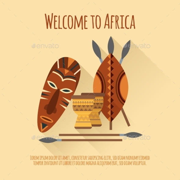 Africa Welcome Flat Icon Poster  - Miscellaneous Conceptual