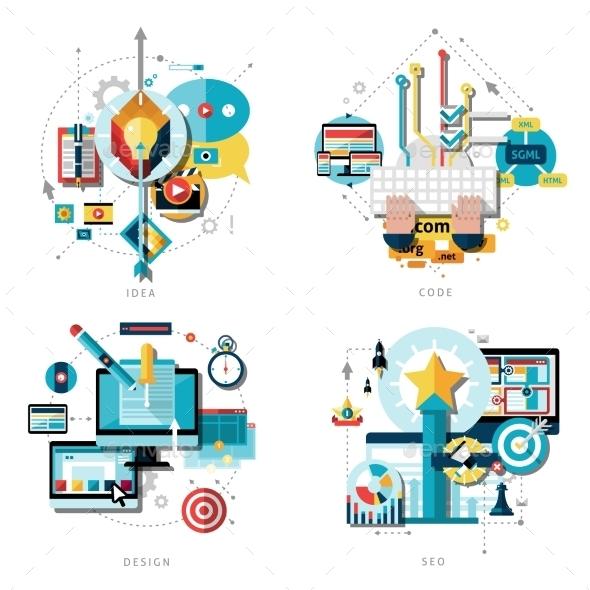 Creative Work Icons Set - Web Technology
