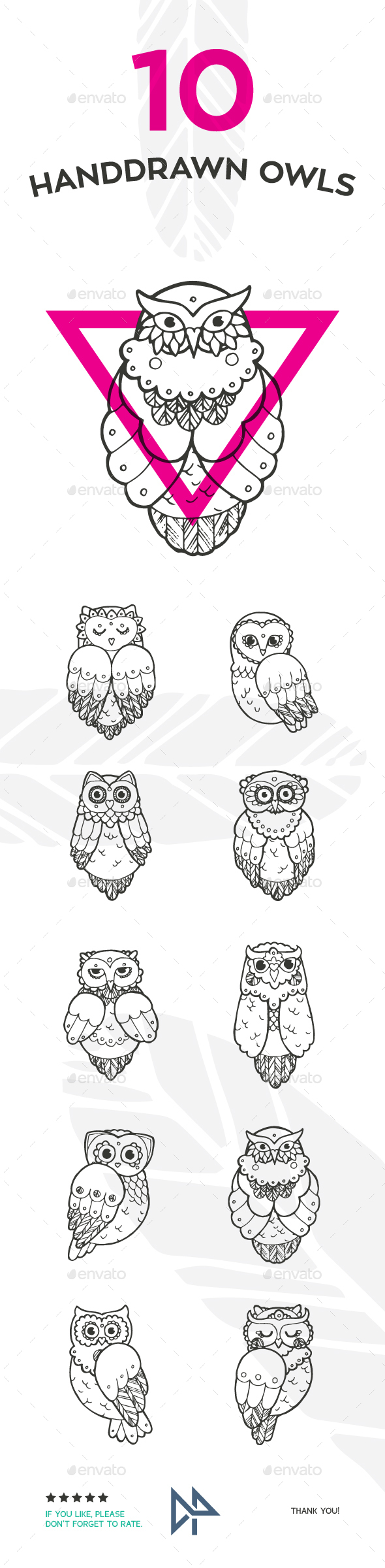 Handdrawn Owls - Animals Characters