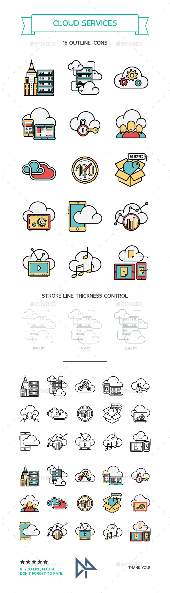 Cloud Services Line and Color Icons - Technology Icons