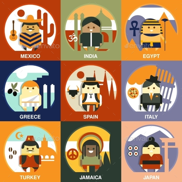 Representatives Of Different Nationalities Flat - People Characters