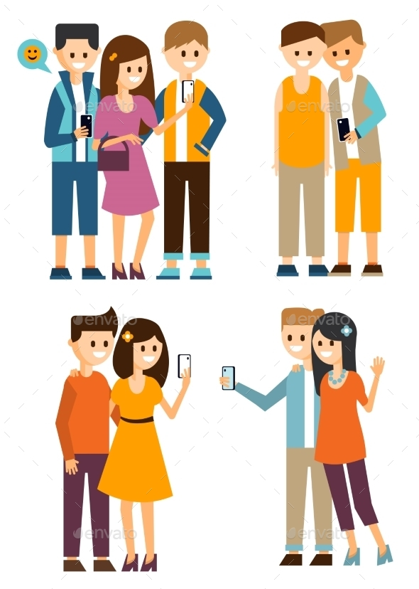 Groups Of Young People Make Selfies - People Characters