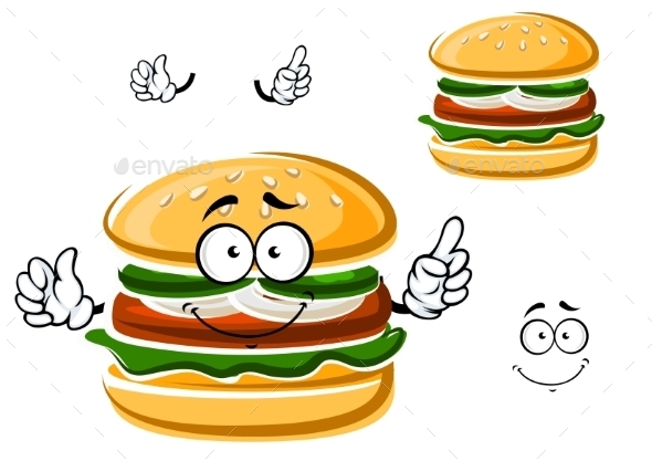 Cartoon Funny Hamburger With Vegetables - Food Objects