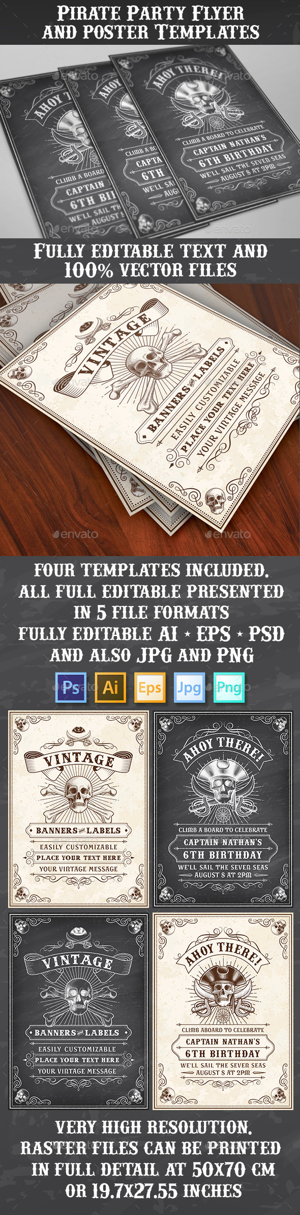 Pirate Theme Vector Flyers or Posters - Clubs & Parties Events