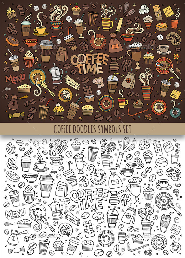 Hand Drawn Coffee Doodles Symbols - Food Objects