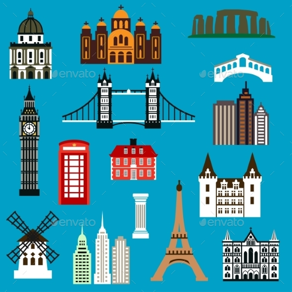 World Travel Landmark Flat Icons - Travel Conceptual