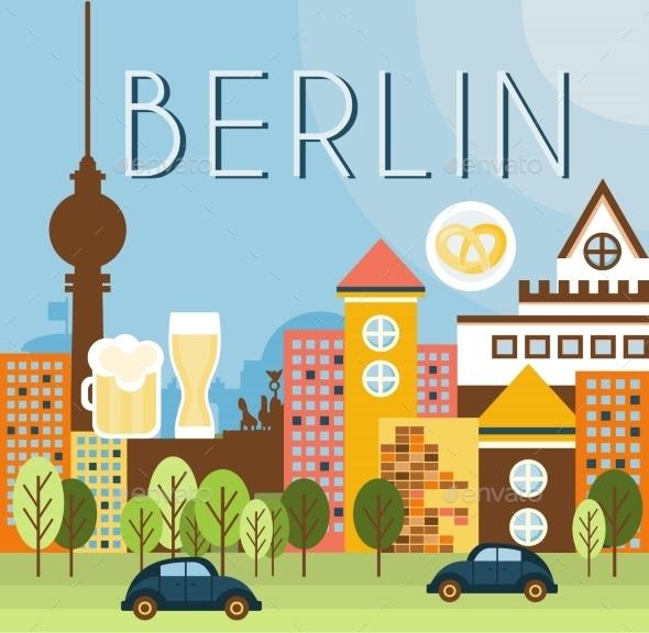 Berlin Landscape Vector Illustration - Buildings Objects
