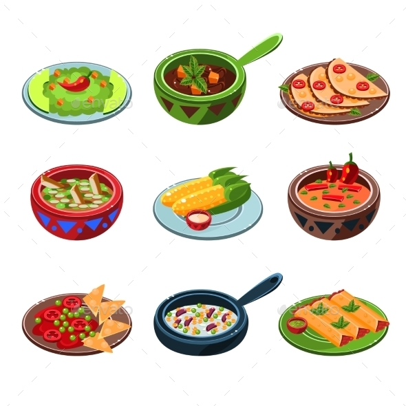 Mexican National Food Set  - Food Objects