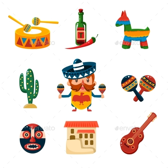 Traditional Mexical Objects Vector Illustration - Objects Vectors