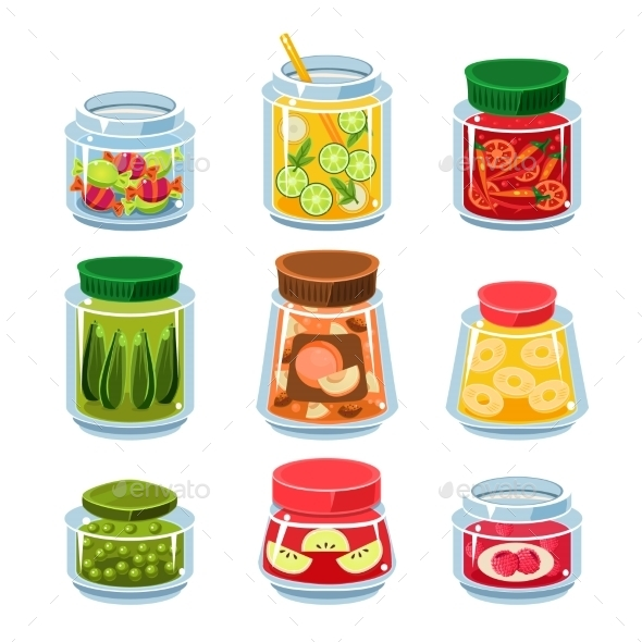 Canned Fruit And Vegetables In Cans - Food Objects