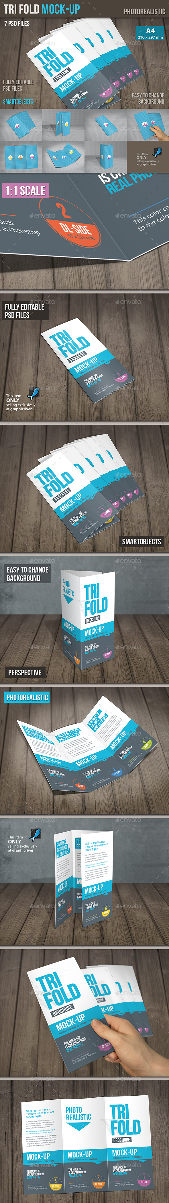Mock-Up Trifold Brochure  - Brochures Print