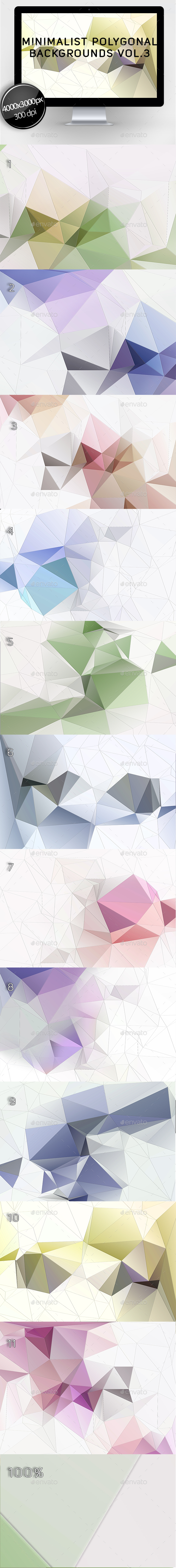 Minimalist Polygonal Backgrounds Vol.3 - Abstract Backgrounds