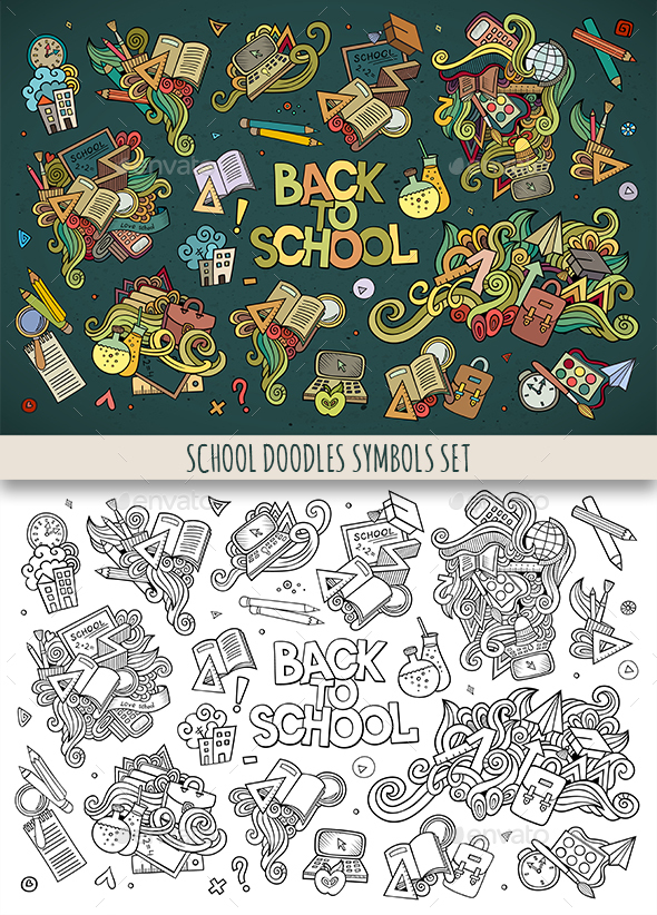 School Doodles Symbols Set - Objects Vectors