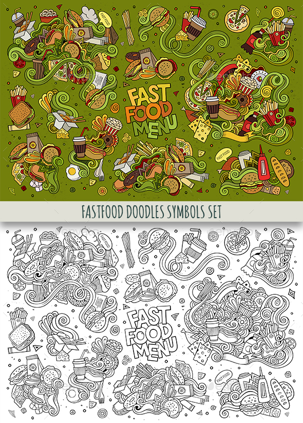 Fast Food Doodles Symbols Set