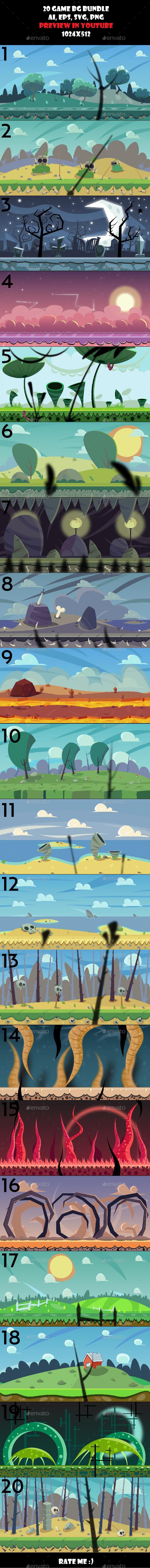 20 BG bundle - Backgrounds Game Assets