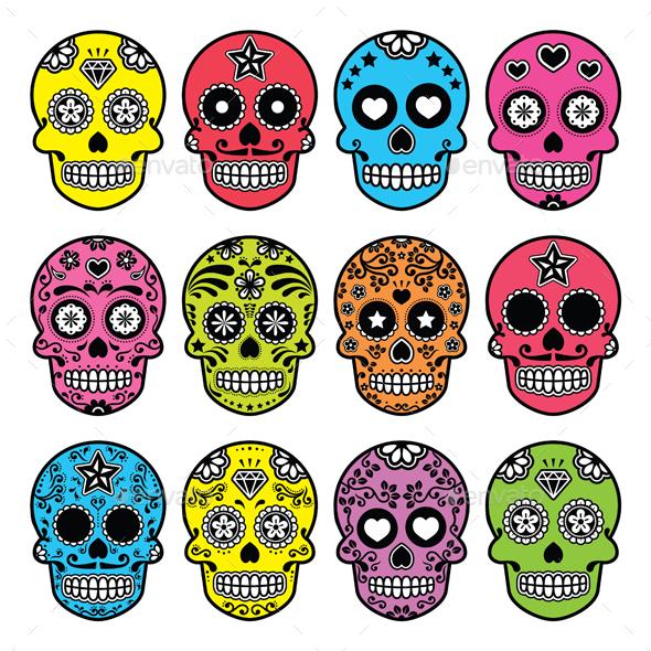 Halloween Mexican Sugar Skull, Dia de los Muertos  - Halloween Seasons/Holidays