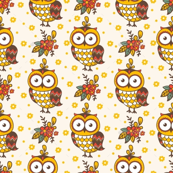 Seamless Pattern With Owls.  - Backgrounds Decorative