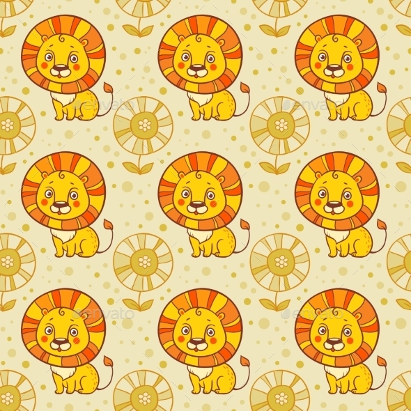 Lion Seamless Vector Pattern  - Birthdays Seasons/Holidays
