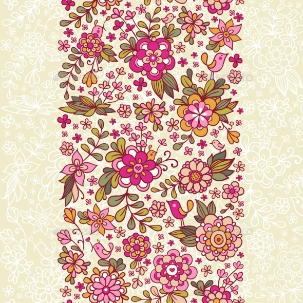 Seamless Floral Pattern With a Bird And Flowers. - Flowers & Plants Nature