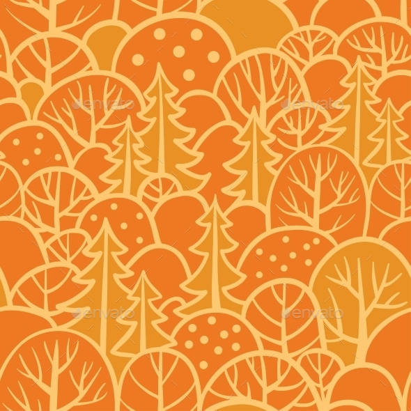 Seamless Tree Pattern With Forest Illustration. - Backgrounds Decorative
