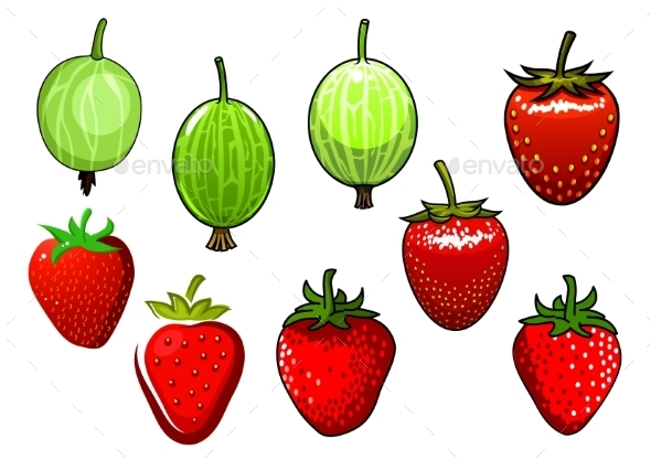 Fresh Red Strawberry And Green Gooseberry - Food Objects