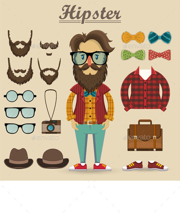 Hipster Character and Hipster Elements - People Characters