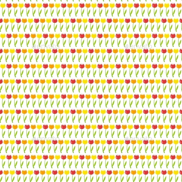 Floral Seamless Pattern Background With Tulips - Objects Vectors