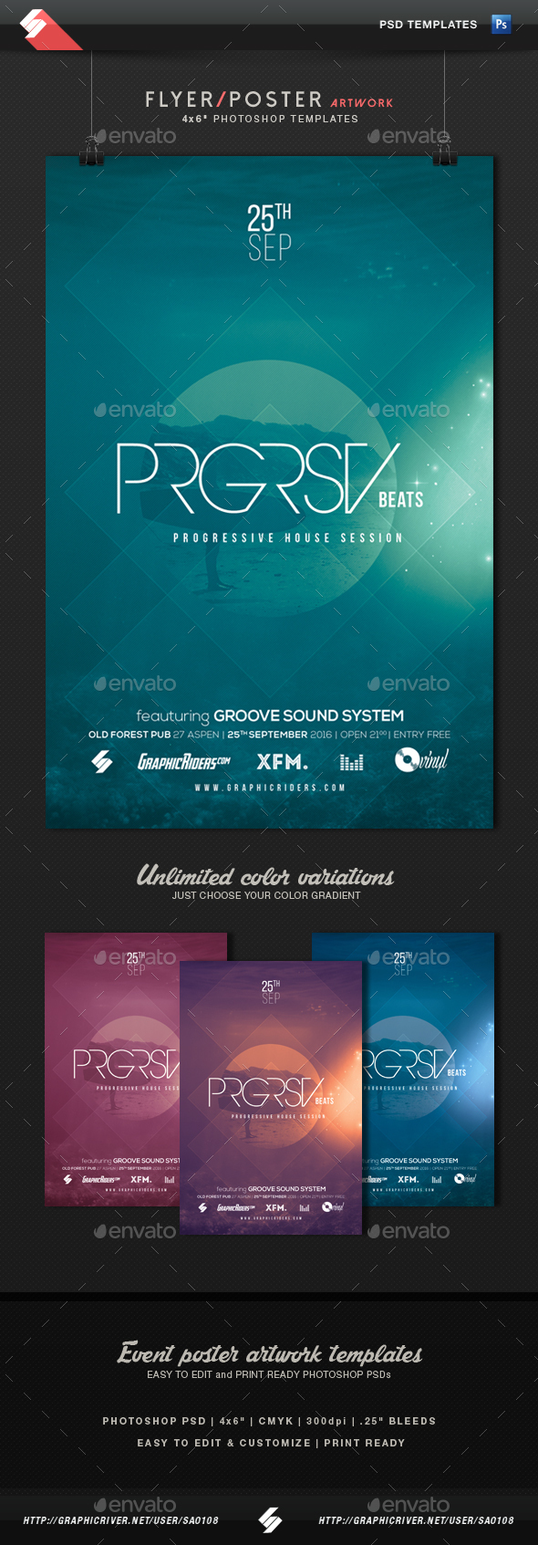Progressive House Party Flyer Template - Clubs & Parties Events