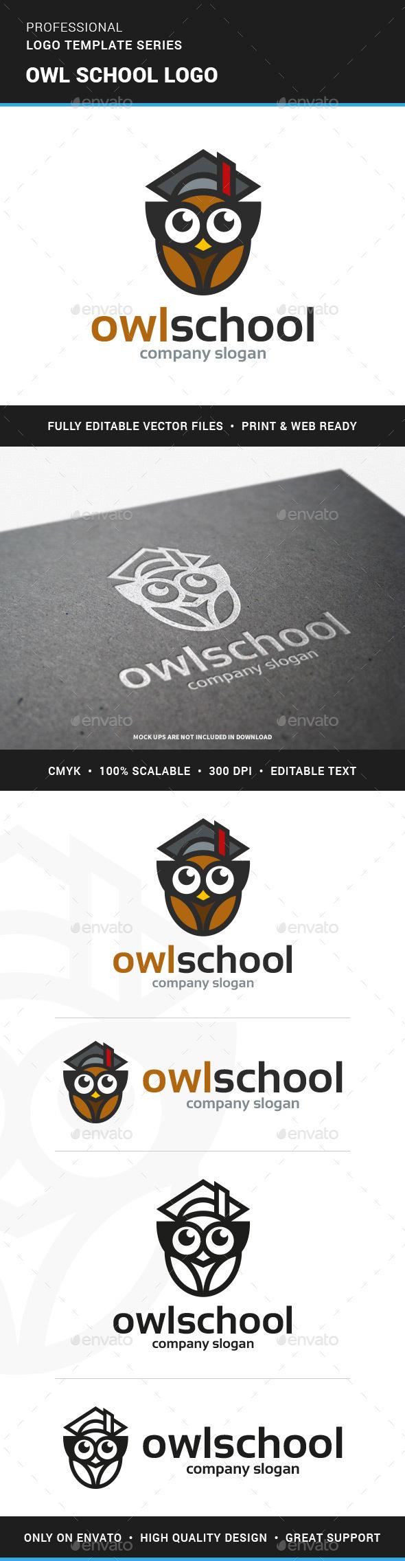 Owl School Logo Template - Animals Logo Templates