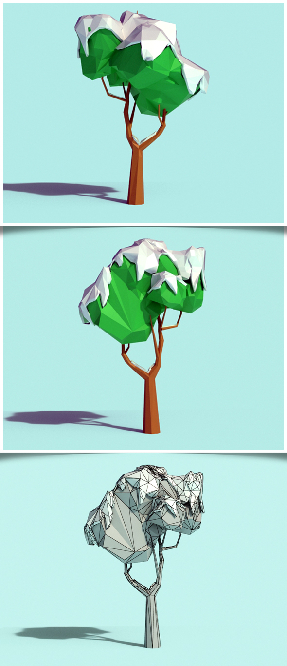 Low Poly Snowy Tree 02 - 3DOcean Item for Sale