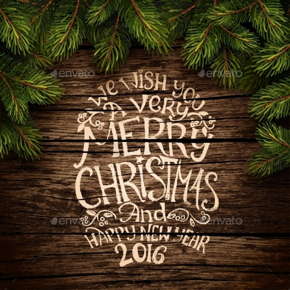 Christmas Typography on Wooden Texture - Christmas Seasons/Holidays