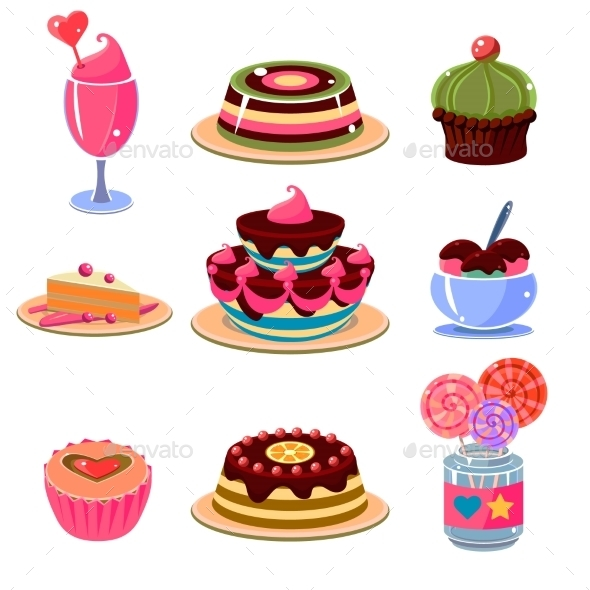 Bright Dessert Icons Set - Food Objects