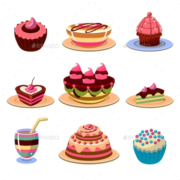 Bright Cakes and Dessert Icons - Food Objects
