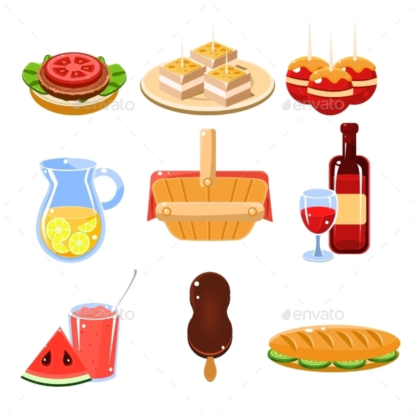 French Food Icons Set - Food Objects
