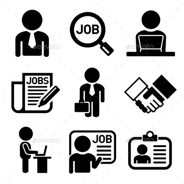 Business, Management And Human Job Resources Icons - Business Icons